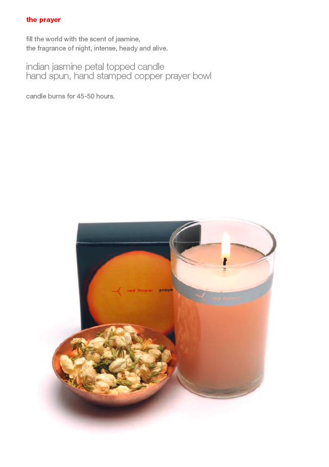 red flower jasmine candle